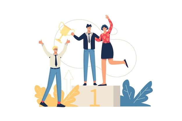 Business success web concept. employees celebrate victory, reach first place and receive trophy. teamwork, achievement of goals, minimal people scene. vector illustration in flat design for website