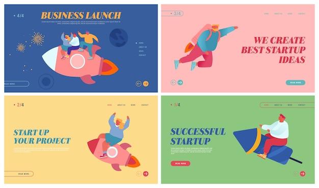 Business success website landing page set