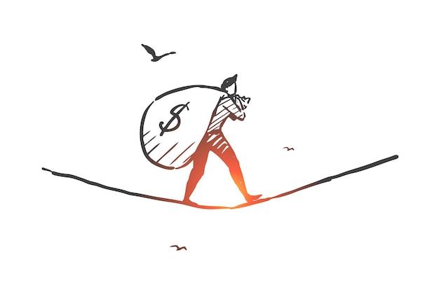 비즈니스, 성공적인 거래, 수익 창출 활동 개념 스케치 그림