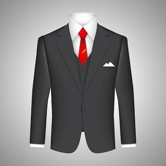 Концепция делового костюма с векторной иллюстрацией элегантного темного пиджака с подходящим жилетом, белой рубашкой и красным галстуком с платком в кармане