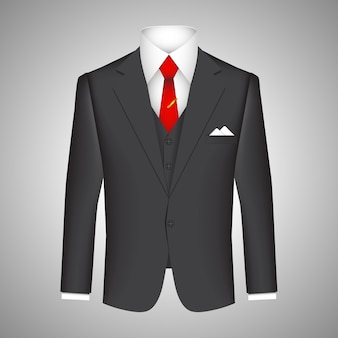 Business suit concept with a vector illustration of a smart tailored dark suit jacket with a matching waistcoat  white shirt and red tie with a handkerchief in the pocket