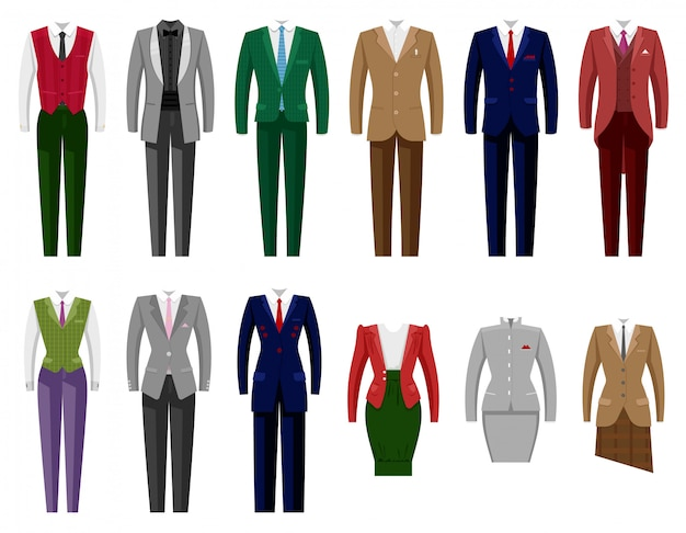 Business suit  mail or female corporate suited clothes of businessman or businesswoman illustration set of manager or worker dress code clothing at office  on white background