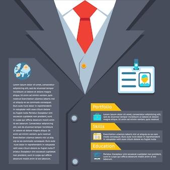 Концепция резюме деловой костюм. портфолио и образование, профессиональное мастерство