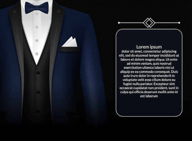 Business suit template with black tie and white shirt in realistic style