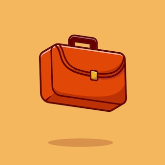 비즈니스 가방 만화 벡터 아이콘 그림입니다. 비즈니스 개체 아이콘 개념 절연 프리미엄 벡터입니다. 플랫 만화 스타일
