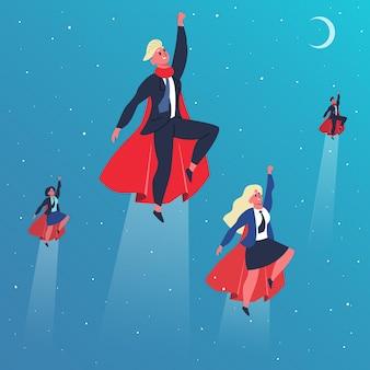 ビジネスのスーパーヒーロー。飛んでいるスーパーヒーローのキャラクター、スーパーヒーローはアクションポーズで飛ぶ