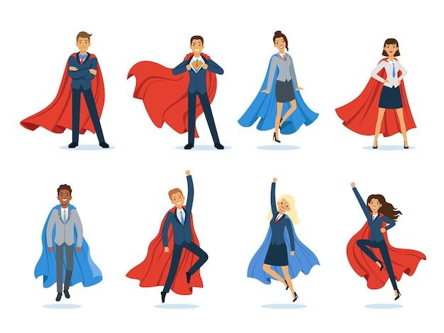 비즈니스 슈퍼 히어로. 슈퍼히어로 망토를 입은 성공적인 관리자와 보스 남성 및 여성 전문 벡터 캐릭터. 슈퍼 히어로의 힘, 초강력 비즈니스 사람 그림
