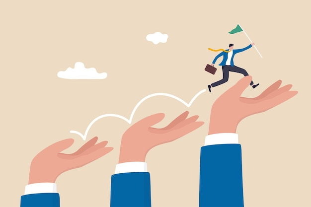 Business support or mentorship to assist employee to success, helping hand or encouragement for teammate to achieve business goal, businessman jumping up giant hand growth ladder to progress target.