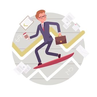 Business surfing man