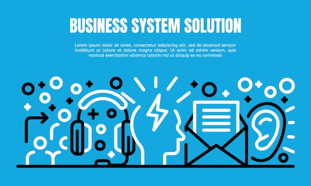 Business system solution banner, outline style