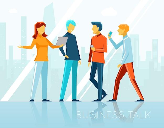 ビジネストーク、クリエイティブブレーンストーミング。人々の出会い、コミュニケーション、そしてオフィス。ベクトルイラスト