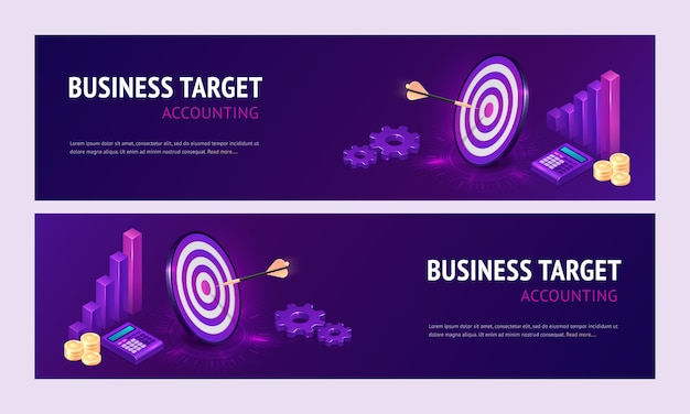 Business target accounting isometric landing page