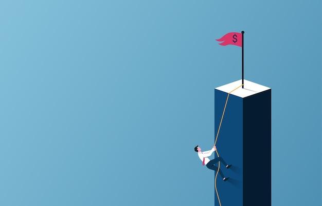 사업 목표 및 경력 성장 개념. 로프 기호에 절벽을 등반하는 사업가.