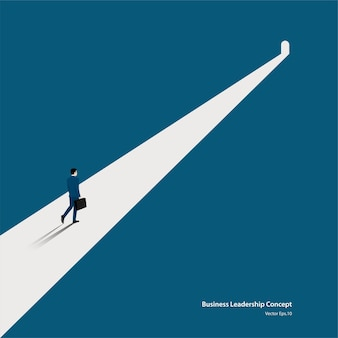 Business and target, businessman walking on the symbol of dark times ending, hope on horizon go to success in career. concept business, achievement, character, leader, vector illustration flat
