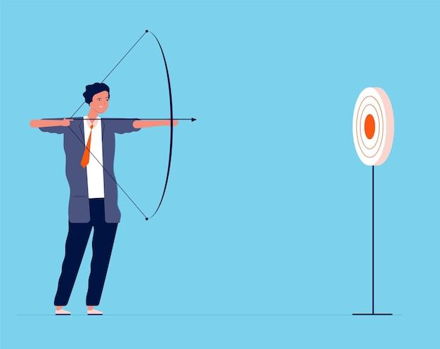 ビジネスターゲット。弓矢で撮影するビジネスマンマネージャーの投資家は、フラットなビジネスコンセプトをターゲットにしています。ビジネスマンの目標と目標、達成図への成功戦略