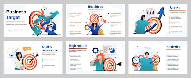 プレゼンテーションスライドテンプレートのビジネスターゲットの概念実業家と実業家