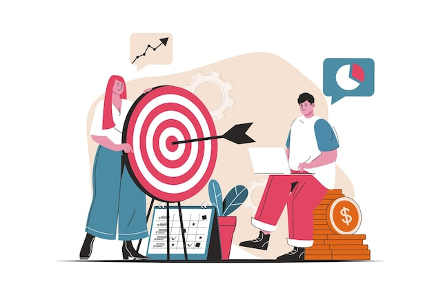 Business target concept isolated. achieving goals, data analysis, audience focus. people scene in flat cartoon design. vector illustration for blogging, website, mobile app, promotional materials.