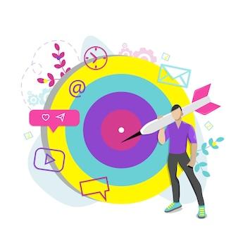 ビジネスターゲットのコンセプト、紹介、アフィリエイトパートナーシッププログラム。フラットベクトルイラスト。
