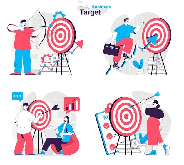 Business target concept set targeting increasing profits marketing success