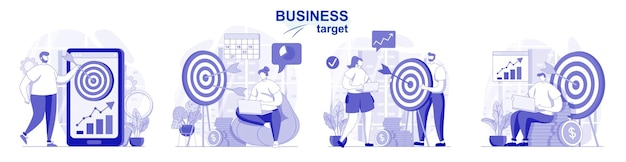 Business target isolated set in flat design people achievement goals develop success strategy