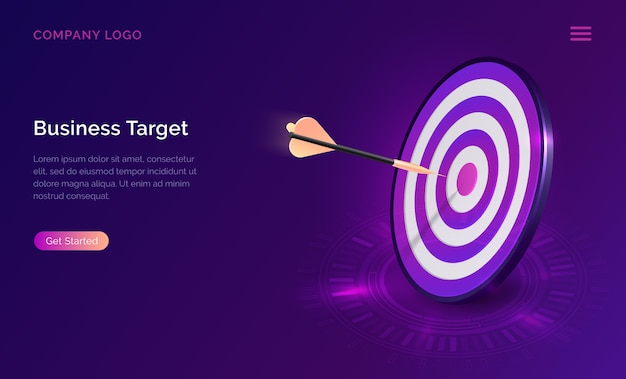 Business target isometric, dart board with arrow