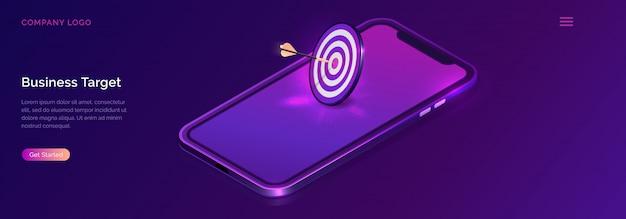 Business target isometrico, freccette con freccia