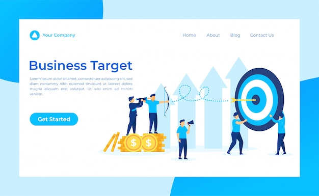Business target landing page, leader looking target through binoculars.