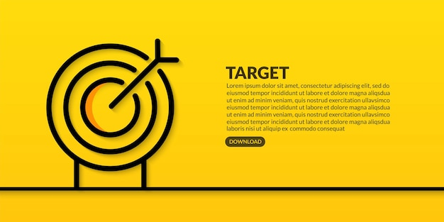 Business target line design on yellow background, business goal and success concept