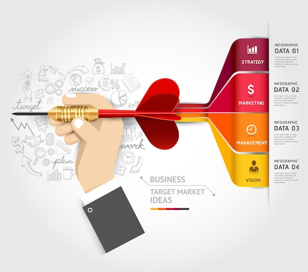 Business target marketing concept. businessman hand with dart