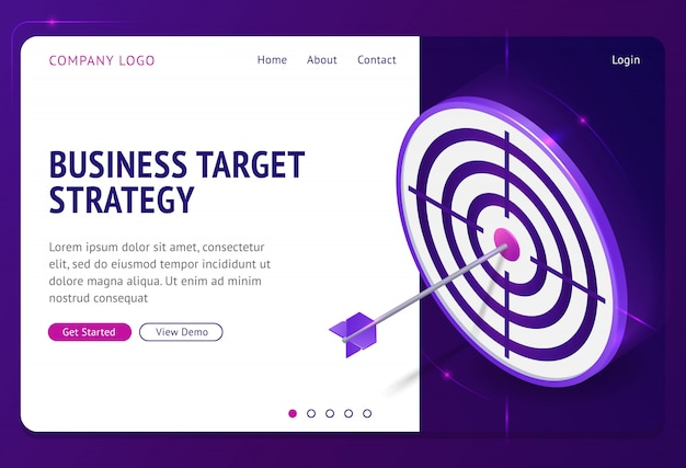 Business target strategy isometric landing page.
