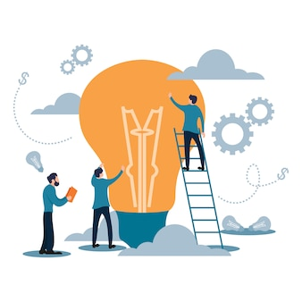 Business target team work with light bulb flat cartoon style