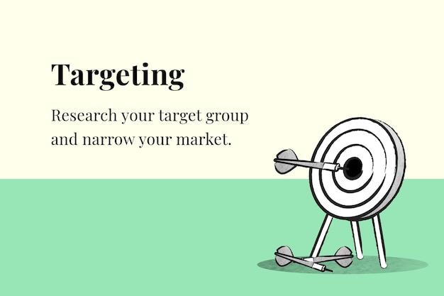 Vettore del modello di targeting aziendale con dardo e freccia su banner beige e verde