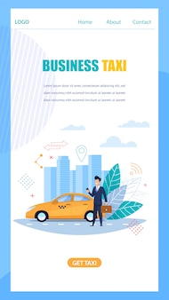 Business taxi online service landing page mobile