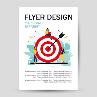 Business team achieving goal. flyer design. marketing strategy concept. people near huge target