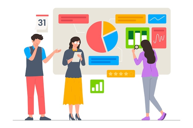 Business team analysis statistic and trend vector illustration