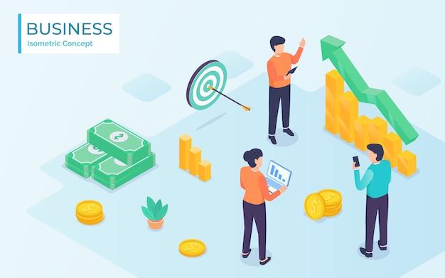 Анализ бизнес-команды с графиком и диаграммой и деньги в современном изометрическом стиле
