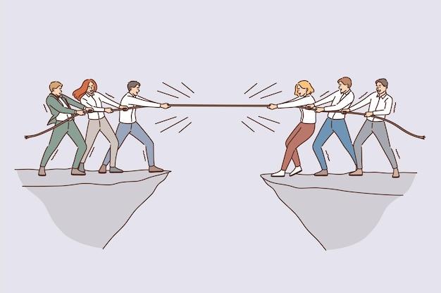 비즈니스 팀 및 경쟁 개념입니다. 비즈니스 사람들 팀 동료의 그룹은 심연 벡터 일러스트레이션의 반대쪽에서 밧줄로 경쟁합니다.