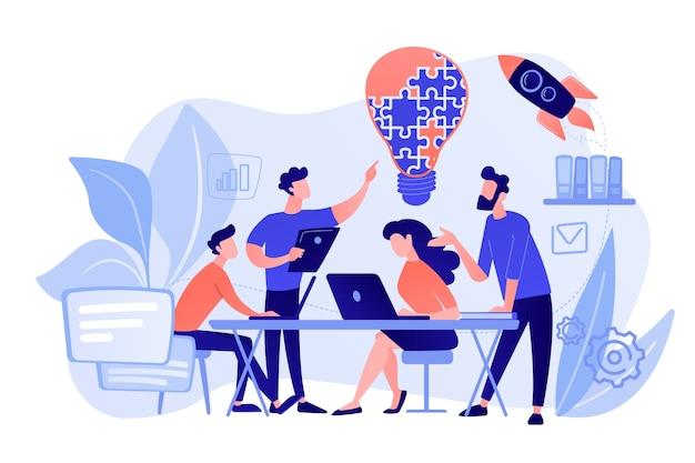 비즈니스 팀은 퍼즐에서 아이디어와 전구를 브레인 스토밍합니다. 작업 팀 협업, 기업 협력, 동료 상호 지원 개념. 분홍빛이 도는 산호 bluevector 고립 된 그림
