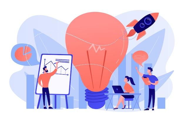 ビジネスチームのブレインストーミング、電球、ロケット。ビジョンステートメント、ビジネスと会社の使命、白い背景の上の事業計画の概念。
