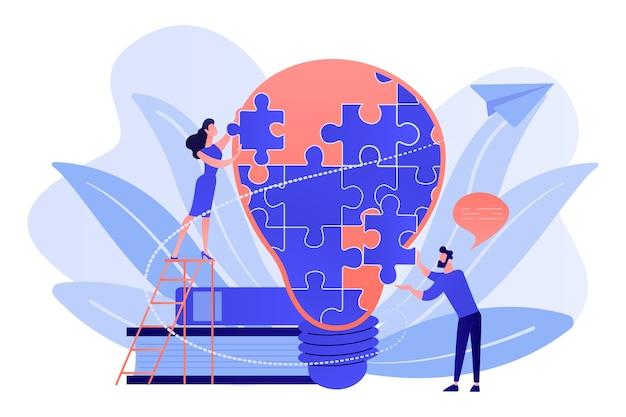 Team aziendale brainstorming, lampadina e razzo. dichiarazione di visione, missione aziendale e aziendale, concetto di pianificazione aziendale su sfondo bianco.