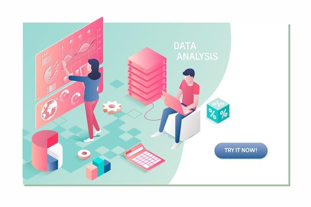 Business team brainstorming data analysis isometric concept