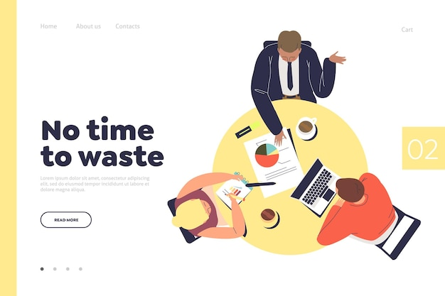 Business team brainstorming, template landing page