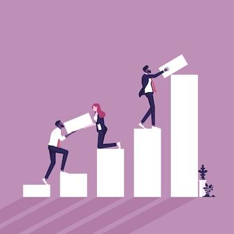 より高い財務成長グラフを構築するビジネスチームビジネス成長の成功とチームワークの概念