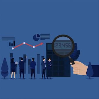 Business team calculate profit finance report.