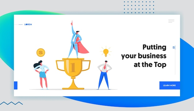 비즈니스 팀 경력 협력 개념 방문 페이지 세트