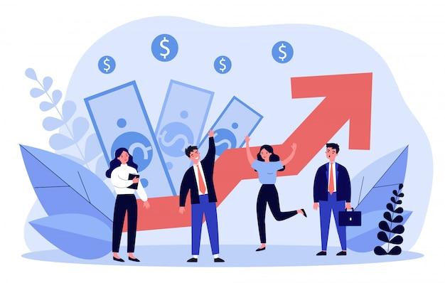 Бизнес команда празднует финансовый рост