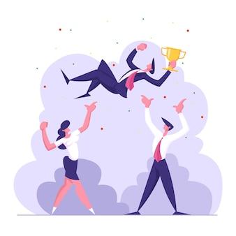 成功を祝うビジネスチーム。勝者カップイラストを持つビジネスマン Premiumベクター