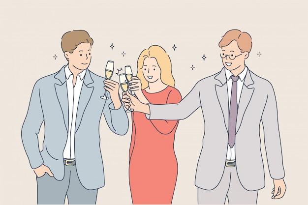 Концепция достижения цели успеха празднования алкогольной команды бизнес-команды
