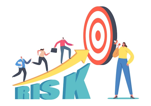 Business team characters climb high risk growing arrow chart. businesspeople going up on growth graph diagram with target on top. career performance, investment. cartoon people vector illustration