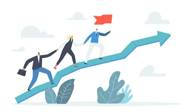矢印チャートを登るビジネスチームのキャラクター、赤旗のリーダー。ビジネスマンはチームメイトのビジネスマンと実業家をピークに引き上げます。チームワークとリーダーシップ。漫画の人々のベクトル図